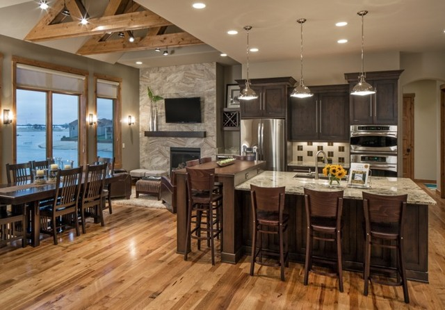 Rustic modern lake house transitional kitchen omaha for Rustic modern kitchen ideas