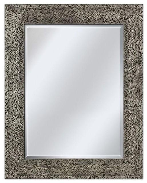 """Hammered Pewter Mirror, 28.5""""x34.5""""."""