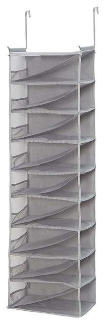 18 Pair Shoes Holder Hanging Organizer Storage Closet Over The Door With 2 Hooks.