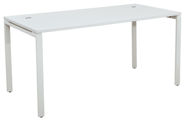 60 Writing Desk With Laminate Top And Metal Legs White Contemporary Desks