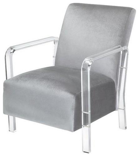 Pleasing Coaster Modern Gray And Clear Accent Chair Inzonedesignstudio Interior Chair Design Inzonedesignstudiocom