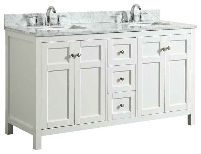 Adley White Bathroom Vanity With Marble Top, 61&x27;&x27;.