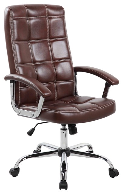 Executive High Back PU Office Task Chair With Chrome Base, Brown, 9092 1