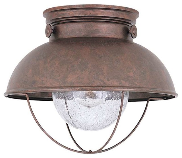 Sea Gull Sebring Led Outdoor Ceiling Flush Mount, Weathered Copper.