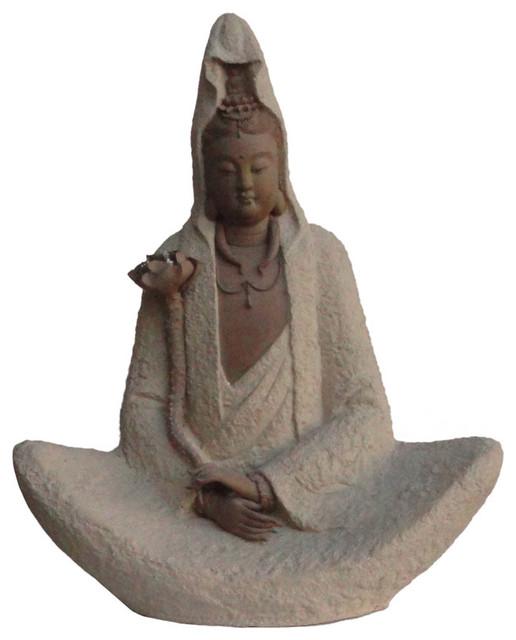 Chinese Ceramic Kwan Yin Guan Yon Sitting Buddha Statue Figurine