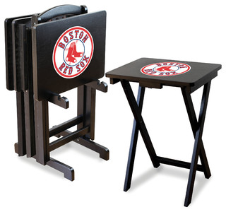 Boston Red Sox TV Trays With Stand, Set of 4