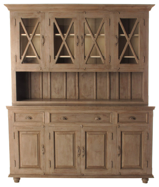 French Country Plantation 4 Door Hutch Cabinet, Large