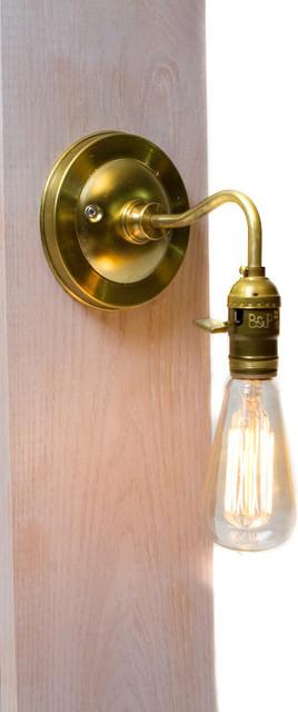 Br Arm Bare Bulb Edison Paddle Key Socket Wall Sconce