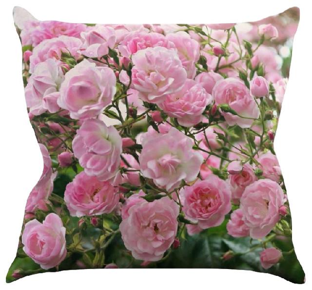 Pink Floral Decorative Pillows : Kess InHouse Sylvia Cook