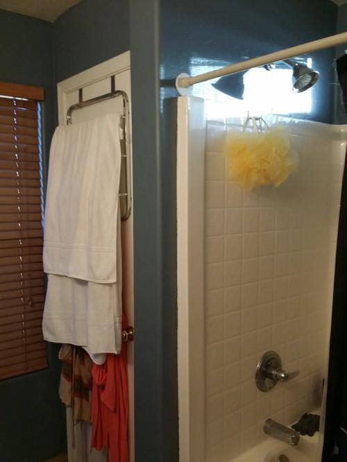 Linen closet to shower