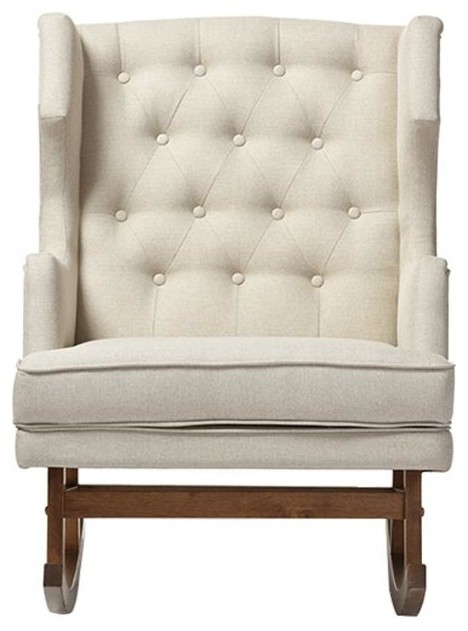 Iona Light Beige Fabric Upholstered Button-Tufted Wingback Rocking Chair by Wholesale Interiors