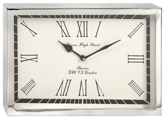 Wadsworth Small Rectangle Wall Clock Silver Chrome Decor