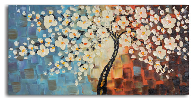 Textured Cherry Blossom Hand Painted Oil Painting