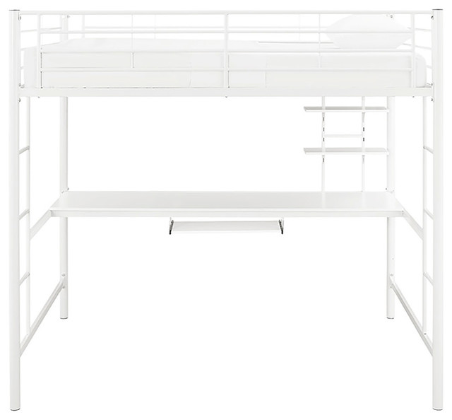 Full Size Metal Loft Bed With Desk Contemporary Loft