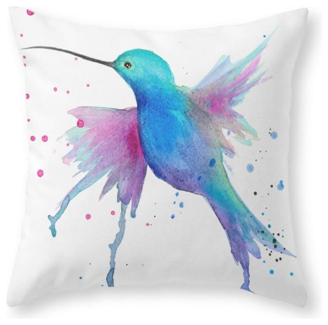 Society6 Hummingbird Waterc Throw Pillow Contemporary