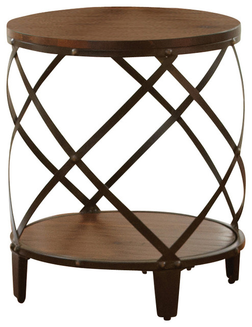 Marvelous Steve Silver Winston Round End Table, Distressed Tobacco Industrial Side  Tables And