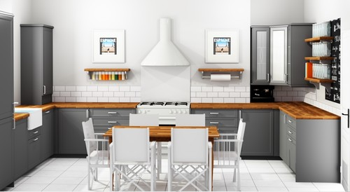 Oak and white kitchen wall and floor help for Kitchen without wall units