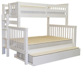 Bunk Beds Twin over Full End Ladder White and Trundle