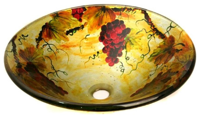 Yellow And Gold Vine Patterned Glass Vessel Sink.