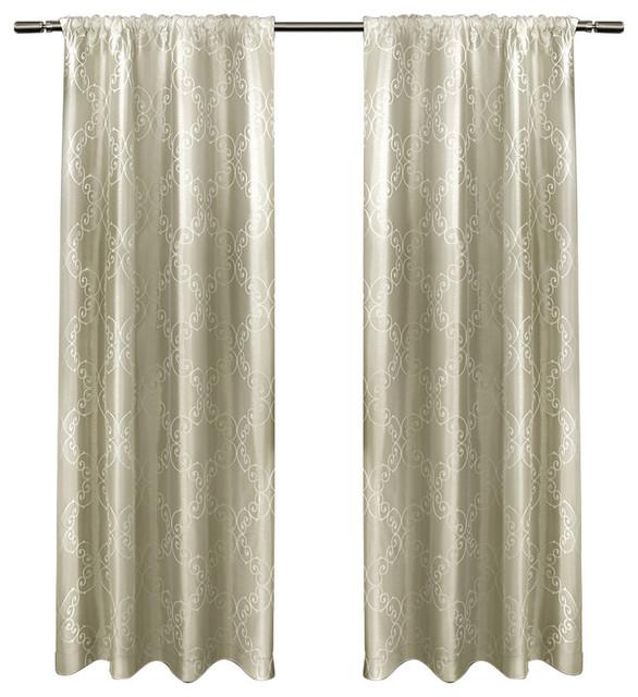 "Como Rod Pocket Window Curtain Panels, Wheat, Set Of 2 / Pair Panels 2-54"" X 96""."