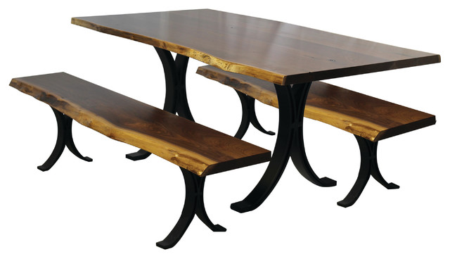 6u0027 Live Edge Black Walnut Dining Table And Benches With Eclipse Base