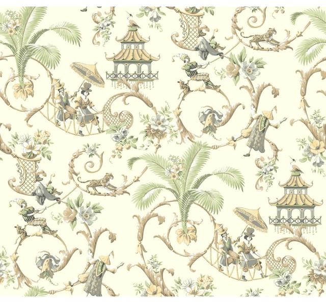 Waverly Wallpaper Wa7772 Mandarin Prose Oriental Asian Toile By The Fabric Co