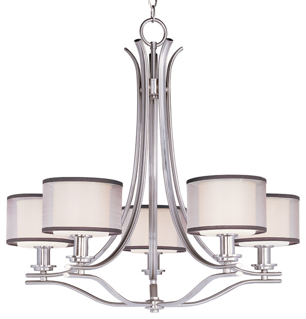 orion 5 light chandelier satin nickel transitional chandeliers
