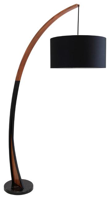 Noah Mid Century Floor Lamp Walnut Wood Frame And Marble