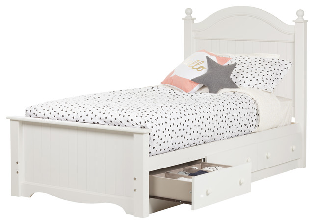 South Shore Savannah Twin Bed Set With 3 Drawers, Pure White.
