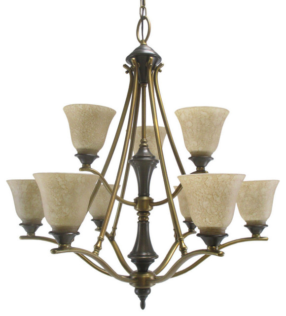 Royal Bronze And Citrine Glass 9-Light Chandelier