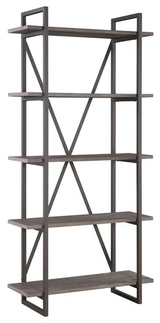 """Pemberly Row Reggie Antique Gray 5 Shelf 36"""" Bookcase with Metal Frame"""