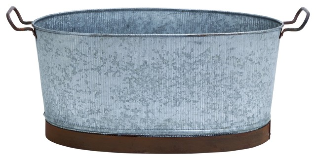 """23"""" Oval Tub With Crepe Design And Decorative Handles."""