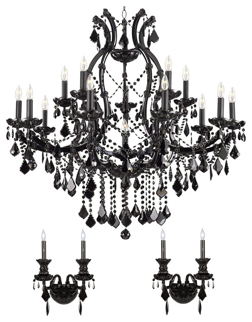 3 Piece Set Jet Black Crystal Chandelier and 2 Wall Sconces ...