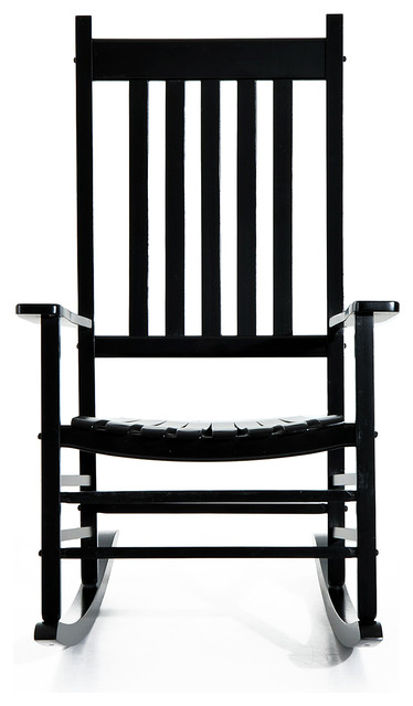 Outsunny Porch Rocking Chair, Outdoor Patio Wooden Rocking Chair, Black