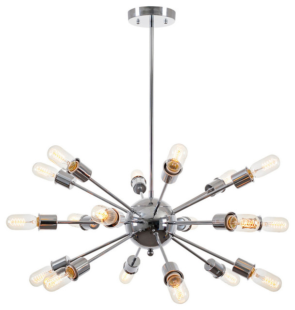 Sputnik 18 Light Chandelier, Chrome
