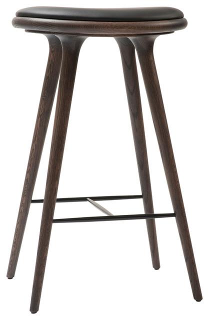 Mater Danish Modern Bar Stool Gray Oak Black Leather Seat Midcentury Bar Stools