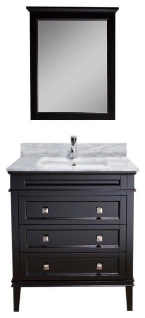 "Bordeaux 30"" Vanity With Mirror And White Carrara Marble Countertop, Espresso."
