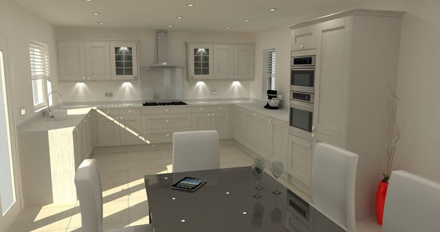 Maddison Shaker Light Grey Kitchen With White Quartz Worktop - Grey kitchen white worktop