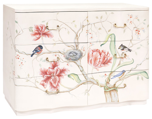 Traditional Florence Chest In Indian White And Hand-Painted Art Finish 6419006