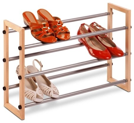 3-Tier Expandable Wood And Metal Shoe Rack - Contemporary - Shoe Storage - by Honey-Can-Do ...