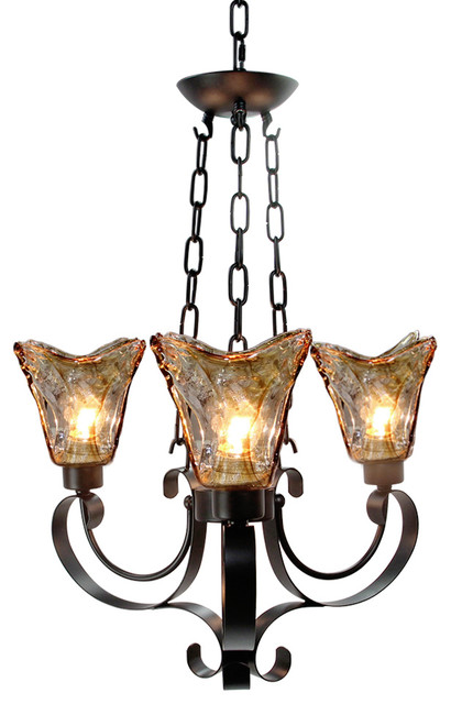 3 light retro style finish chandelier glass traditional chandeliers by lnc lighting - Popular chandelier styles ...