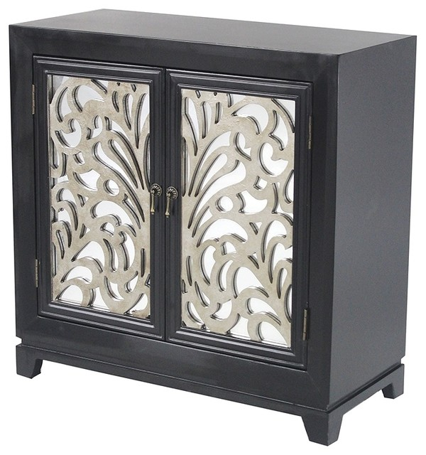 Marrakesh 2 Door Accent Cabinet With Mirror Backed Carved Doors Transitional Chests And Cabinets By Heather Ann Creations