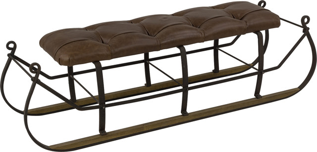 Snow Sled W, Upholstered Top, Brown.