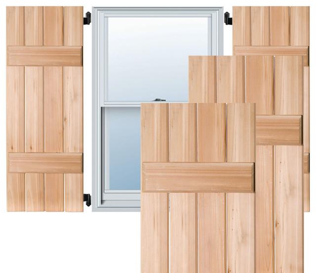 """15"""" x 53"""" Exterior 4-Board Western Red Cedar Board-n-Batten Shutters, Black - Traditional ..."""