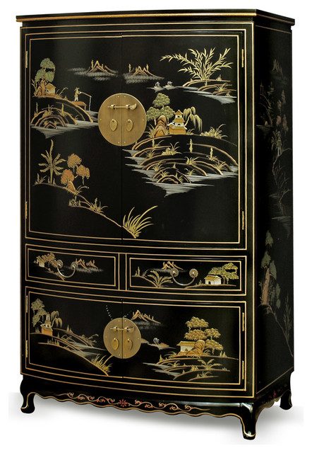 Chinoiserie Scenery Design Tv Armoire Asian Media Cabinets By China Furniture And Arts