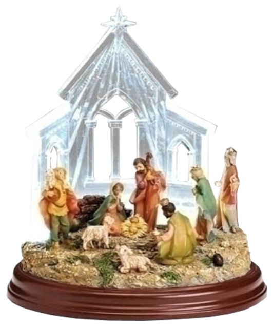 8 Led Nativity In Stable Fig Modern Decorative Objects And Figurines By Imtinanz Llc