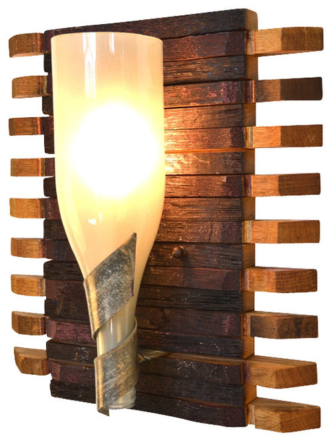 Elegance  Santa Fe  Wine Barrel Stave and Bottle Sconce rustic-wall & Elegance