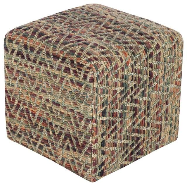 Contemporary Dahlia Square Yellow, Neutral pouf/ottoman - Southwestern - Floor Pillows And Poufs ...