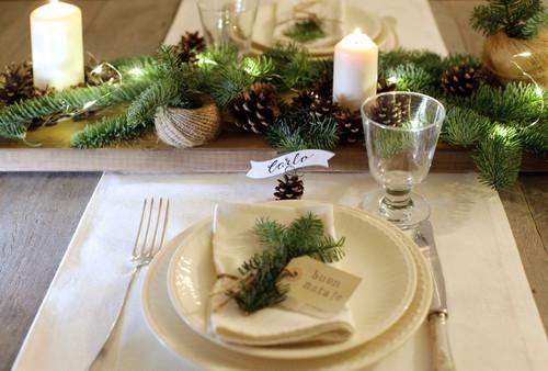 Addobbi Natalizi Fai Da Te Con Pigne.Decorazione Rustica Per La Tavola Di Natale Con Pigne E Candele