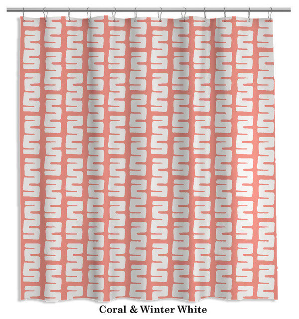 Modern Tribal Shower Curtain In Coral And White 22 Other Colors